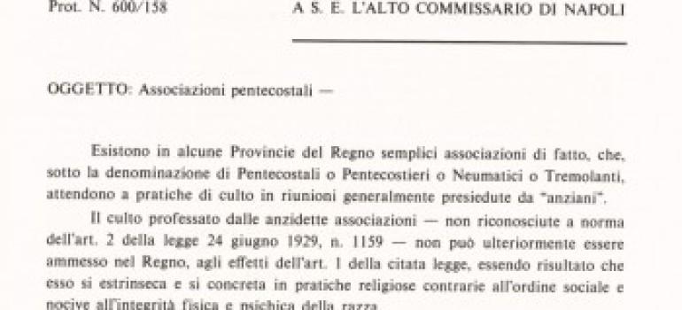 Un triste anniversario: la circolare Buffarini Guidi contro i Pentecostali