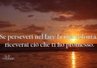 UNA PROMESSA PER OGGI: Se perseveri nel fare la mia volontà, riceverai ciò che ti ho promesso.